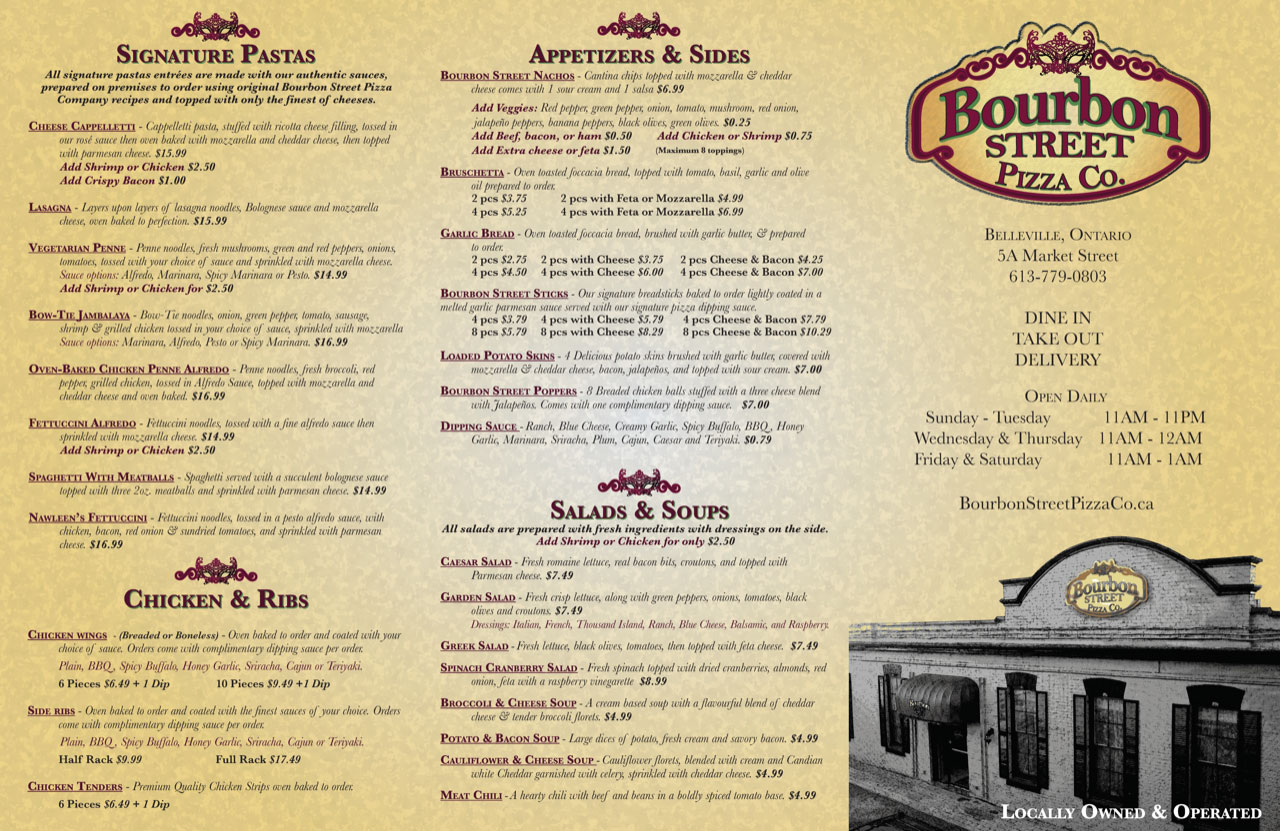Bourbon Street Pizza Co. Takeout Menu