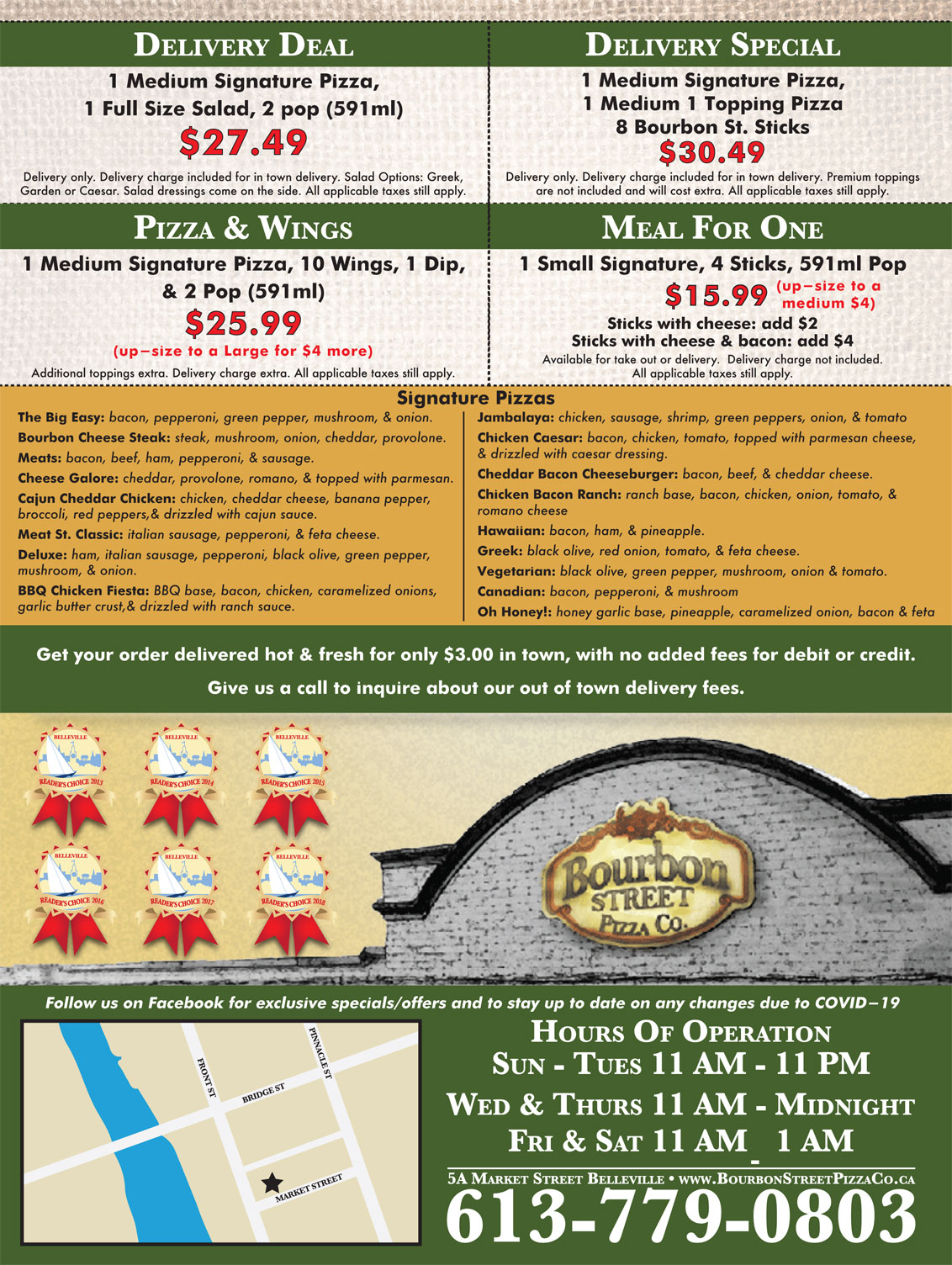 Bourbon Street Pizza Flyer