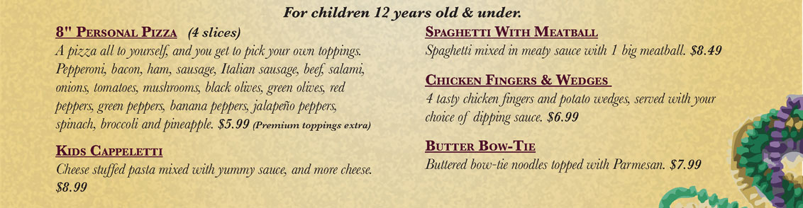 Bourbon Street Pizza - Kids Menu