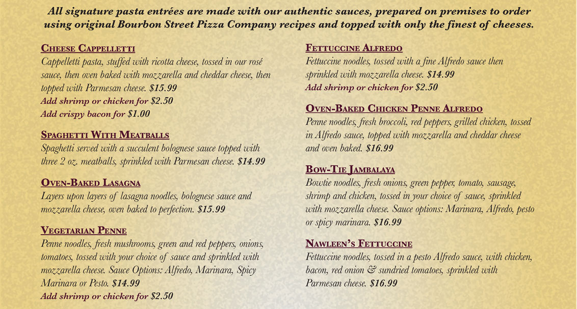Bourbon Street Pizza - Signature Pastas Menu